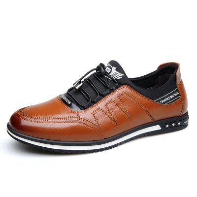 Male Fashion Young Breathable Soft Sport Flat Lace-Up Solid Leather Causal Shoes