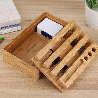 Zuoqi USB Charger 4 USb Adaptor Bamboo Holder Dock Charging Station led dual usb charging charger dock station stand for sony playstation 4 ps4 controller