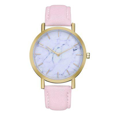 ZhouLianFa ZLF-00178 Stylish Marble Pattern Glossy Leather Quartz Watch