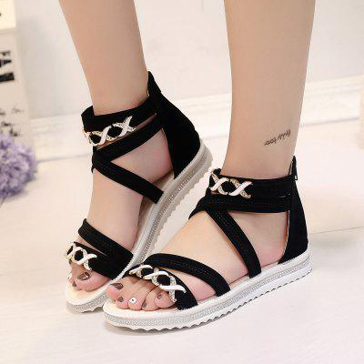 Soft-Soled Flat with Open-Toe Zipper SandalsWomens Sandals<br>Soft-Soled Flat with Open-Toe Zipper Sandals<br><br>Available Size: 35.36.37.38.39.40<br>Closure Type: Zip<br>Gender: For Women<br>Heel Type: Flat Heel<br>Occasion: Dress<br>Package Content: 1xShoes(pair)<br>Pattern Type: Solid<br>Sandals Style: Gladiator<br>Style: Bohemian<br>Upper Material: Cloth<br>Weight: 1.1232kg