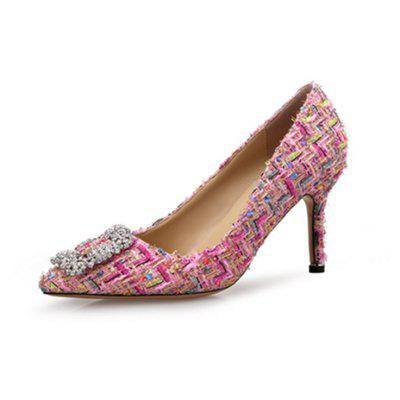 VICONE Elegante Tweed Rhinestone Shoes