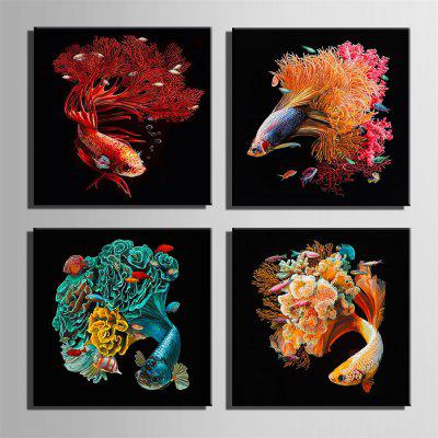Special Design Frameless Paintings Carp Print 4PCSPrints<br>Special Design Frameless Paintings Carp Print 4PCS<br><br>Craft: Oil Painting<br>Form: Four Panels<br>Material: Canvas<br>Package Contents: 4 x Print<br>Package size (L x W x H): 52.00 x 53.00 x 6.50 cm / 20.47 x 20.87 x 2.56 inches<br>Package weight: 3.2000 kg<br>Painting: Without Inner Frame<br>Product size (L x W x H): 50.00 x 50.00 x 1.50 cm / 19.69 x 19.69 x 0.59 inches<br>Product weight: 3.1000 kg<br>Shape: Square<br>Style: Vintage, Fashion, Active, Formal, Casual, Novelty<br>Subjects: Fashion<br>Suitable Space: Indoor,Outdoor,Cafes,Kids Room,Kids Room,Study Room / Office