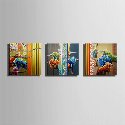 Special Design Frameless Paintings Cow Print 3PCSPrints<br>Special Design Frameless Paintings Cow Print 3PCS<br><br>Craft: Oil Painting<br>Form: Three Panels<br>Material: Canvas<br>Package Contents: 3 x Print<br>Package size (L x W x H): 52.00 x 53.00 x 5.00 cm / 20.47 x 20.87 x 1.97 inches<br>Package weight: 1.9000 kg<br>Painting: Without Inner Frame<br>Product size (L x W x H): 50.00 x 50.00 x 1.50 cm / 19.69 x 19.69 x 0.59 inches<br>Product weight: 1.8000 kg<br>Shape: Square<br>Style: Vintage, Fashion, Active, Formal, Casual, Novelty<br>Subjects: Fashion<br>Suitable Space: Indoor,Outdoor,Cafes,Kids Room,Kids Room,Study Room / Office