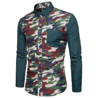 Fashion Camouflage Pure Color Casual Lapel and Cowboy Shirt