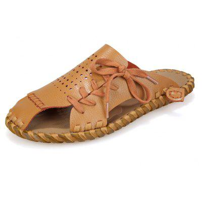 Men Summer Lazy Leisure Hole Leather Baotou Sandals