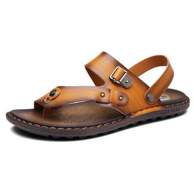 Men Microfiber Leather Large Size Clip Toe Wear-resistant Casual Sandals