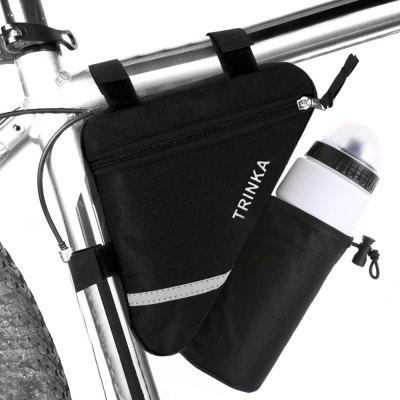 Bicycle Bag Triangle Front Tube Frame Saddle Nylon Holder Reflective Stripe With Water Bottle Pocket d28 600d nylon waterproof bicycle saddle bag black