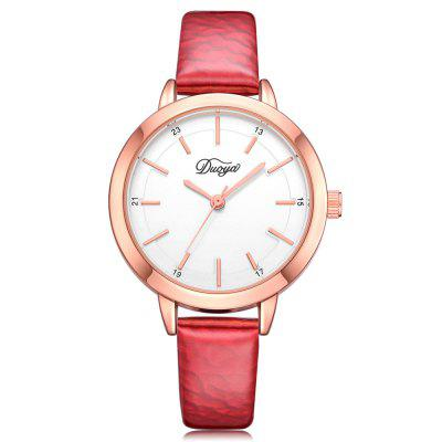 DUOYA Women Fashion and Leisure Simple Quality PU Leather Quartz Watch