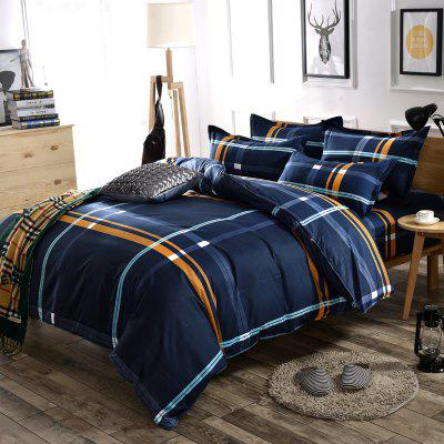 Bedding Cover Set Brief Style Striped Pattern Comfy Home