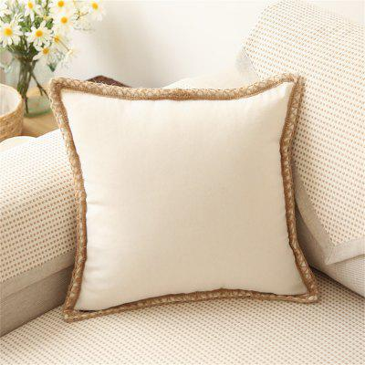 Simple Cotton and Hemp Sofa Lace Pure Color with No Core Pillowcase