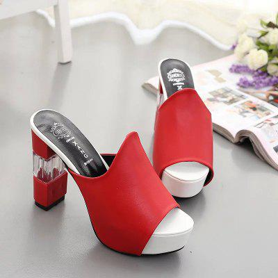 Thick High-heeled Waterproof Tarpaulin SandalWomens Pumps<br>Thick High-heeled Waterproof Tarpaulin Sandal<br><br>Available Size: 34 35 36 37 38 39 40<br>Heel Type: Chunky Heel<br>Lining Material: PU<br>Occasion: Party<br>Package Contents: 1 x Shoes ( pair )<br>Pumps Type: Gladiator<br>Season: Summer, Spring/Fall<br>Toe Shape: Peep Toe<br>Toe Style: Open Toe<br>Upper Material: PU<br>Weight: 0.5376kg