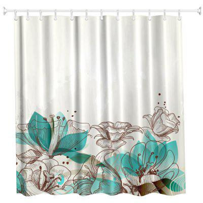 Cartoon Flowers Water-Proof Polyester 3D Printing Bathroom Shower Curtain