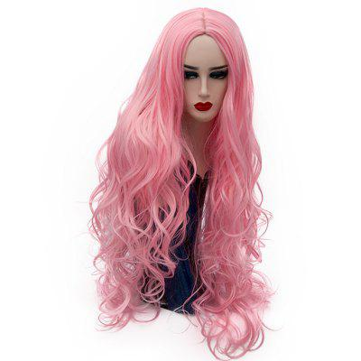Synthetic Fashion Pink Wig Long Curly Hair High Temperature for Women 31 inch