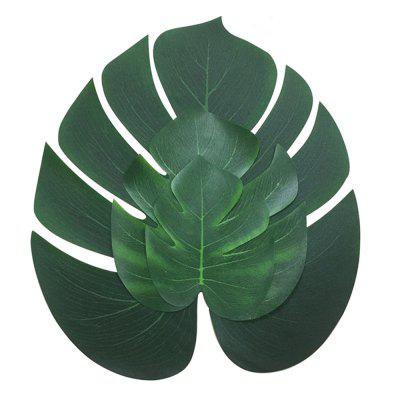Turtle Leaf Simulation Green Plant Table Flag Decoration 3 Sizes Each 12 Pieces