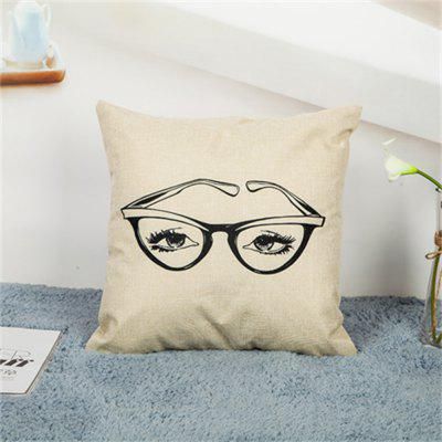 Linen Mustache Hold Pillowcase Without Inner Core
