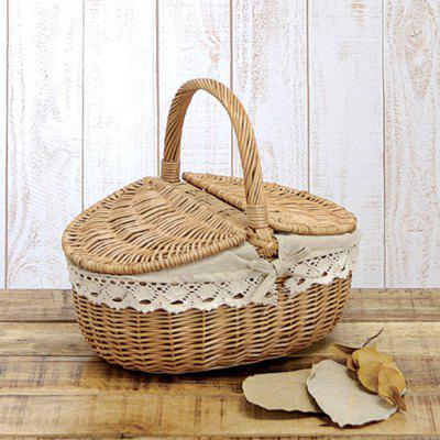 Wicker Rattan Brown Hand-Held Lace Sideband Cover Picnic Storage Basket