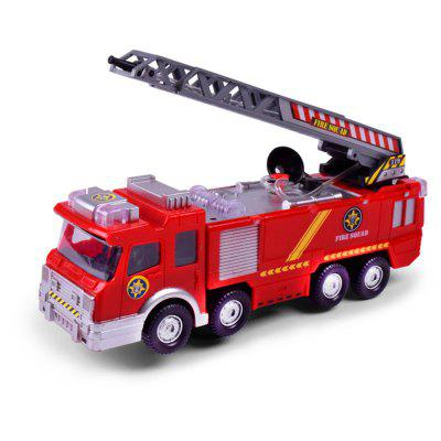 Simulation Fire Truck Model with Omnibearing Swiveling Tube Electric Sprinkler Toy