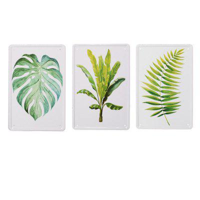3pcs Nordic Style Leaf Pattern Metal Painting for Wall Decor