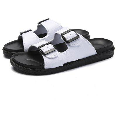 Simple Retro Leather Buckle McGrady Mens SlippersMens Slippers<br>Simple Retro Leather Buckle McGrady Mens Slippers<br><br>Available Size: 41-44<br>Embellishment: None<br>Gender: For Men<br>Outsole Material: Rubber<br>Package Contents: 1 x shoes(pair)<br>Pattern Type: Solid<br>Season: Summer<br>Slipper Type: Outdoor<br>Style: Retro<br>Upper Material: Genuine Leather<br>Weight: 1.7424kg