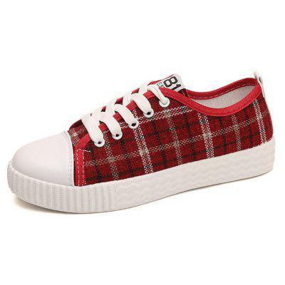 2018 New Fashion Casual Plaid Canvas All-match Flat Shoes
