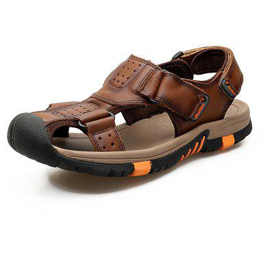 ZEACAVA Men Cow Leather Anti-collision Breathable Sole Hook Loop Casual Sandals