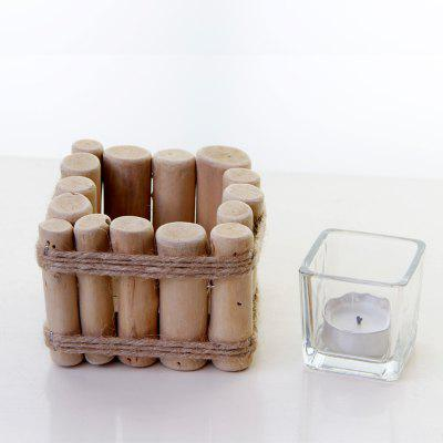 Pure Wood  Candle Holder Rural Style Manual Tealight Candlestick