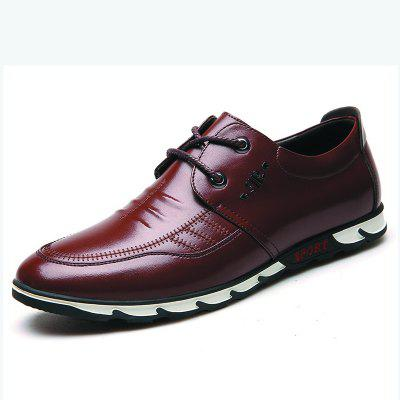Male Fashion Breathable Soft Sport Flat Lace-Up Solid Leather Men's Causal Shoes