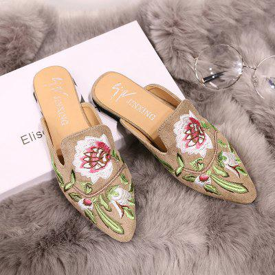 """Womens  Pointed Toe Slippers Flower Embroidered Comfy Sweet Ladylike ShoesSlippers &amp; Flip-Flops<br>Womens  Pointed Toe Slippers Flower Embroidered Comfy Sweet Ladylike Shoes<br><br>Available Size: 35 36 37 38 39 40 41 42 43 44<br>Embellishment: Embroidery<br>Gender: For Women<br>Heel Height: 2<br>Heel Height Range: Flat(0-0.5"""")<br>Heel Type: Low Heel<br>Insole Material: PU<br>Lining Material: PU<br>Outsole Material: Rubber<br>Package Contents: 1 x shoes(pair)<br>Pattern Type: Floral<br>Season: Spring/Fall, Summer<br>Shoe Width: Medium(B/M)<br>Slipper Type: Outdoor<br>Style: Elegant<br>Technology: Adhesive<br>Upper Material: PU<br>Weight: 3.3600kg"""
