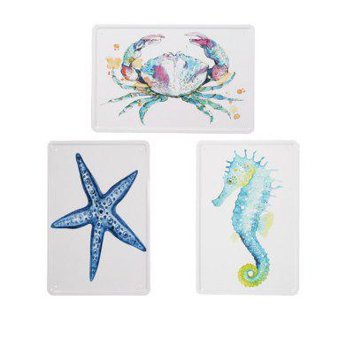 3pcs Nordic Style Marine Animals Pattern Metal Painting for Wall Decor