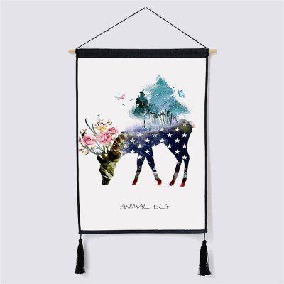 Modern Style Deer Fabric Hanging Paintings for Wall Decor