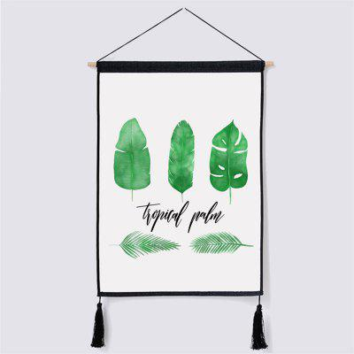 Green Leaf Fabric Hanging Painting for Wall Decor