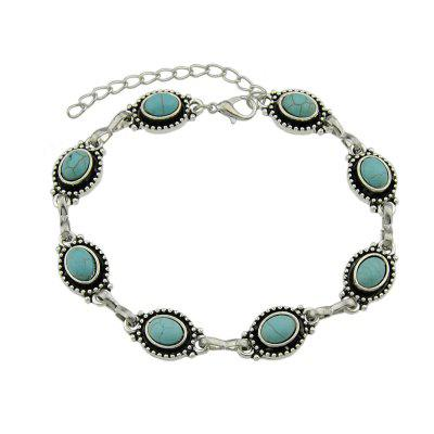 Silver Color Chain with Blue Stone Anklets