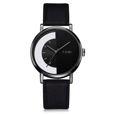 TOMI T017 Men's Stylish Casual Leather Band Round Watch with Box
