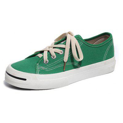 Lace Up Canvas Flat Sneaker Shoes