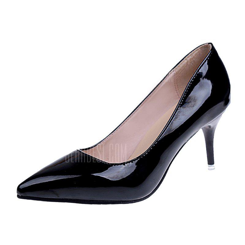 Women's Pointed Toe Pump Patent Leather Simple Design All Match Thin Heel Shoes