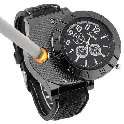 Stainless Steel Quartz Watch USB Rechargeable Windproof Electronic Lighter