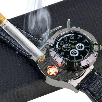 Stainless Steel Quartz Watch USB Rechargeable Windproof Electronic Lighter 319a stainless steel windproof butane gas lighter golden brown