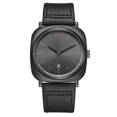 TOMI T013 Men's Square Watch Face Analog Quartz Leather Watch with Box