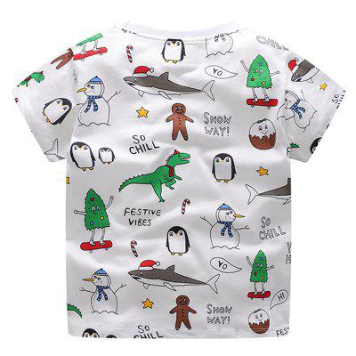 New Children Cute Cartoon Animal Prints Short Sleeve T-shirtBoys Tops &amp; T-shirts<br>New Children Cute Cartoon Animal Prints Short Sleeve T-shirt<br><br>Collar: Round Neck<br>Embellishment: Pattern<br>Head Drawstring: Without<br>Material: Cotton<br>Neck Drawstring: Without<br>Package Contents: 1 x T-shirt<br>Pattern Type: Character<br>Sleeve Length: Short<br>Style: Casual<br>Weight: 0.1000kg