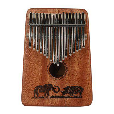 Kalimba 17 Keys with Instruction and Tune Hammer Portable Thumb Piano by Mirira San - MAHOGAN