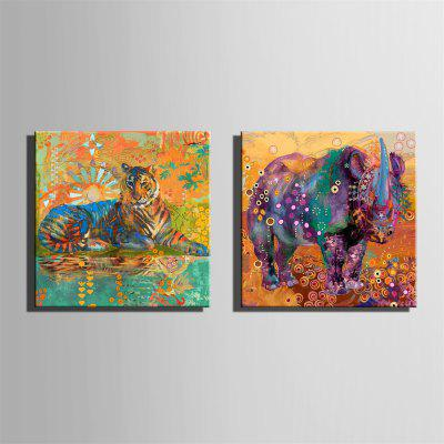 Special Design Frameless Paintings Tigers and Rhinoceros Print 2PCSPrints<br>Special Design Frameless Paintings Tigers and Rhinoceros Print 2PCS<br><br>Craft: Print<br>Form: Two Panels<br>Material: Canvas<br>Package Contents: 2 x Print<br>Package size (L x W x H): 32.00 x 33.00 x 3.50 cm / 12.6 x 12.99 x 1.38 inches<br>Package weight: 0.7000 kg<br>Painting: Without Inner Frame<br>Product size (L x W x H): 30.00 x 30.00 x 1.50 cm / 11.81 x 11.81 x 0.59 inches<br>Product weight: 0.6000 kg<br>Shape: Square<br>Style: Fashion, Hipster, Active, Casual<br>Subjects: Fashion<br>Suitable Space: Indoor,Outdoor,Cafes,Kids Room,Kids Room,Study Room / Office