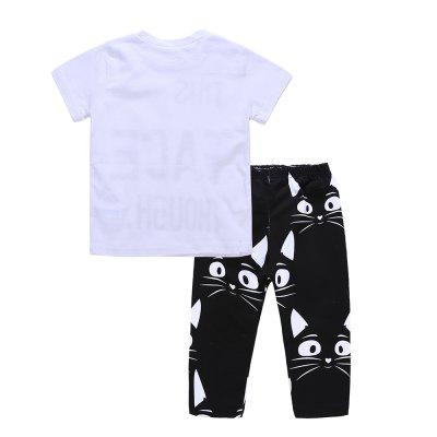 SOSOCOER Kids Girls and Boys Clothes Set Short Sleeved T-Shirt + Cat Pants 2PCSBoys Clothing Sets<br>SOSOCOER Kids Girls and Boys Clothes Set Short Sleeved T-Shirt + Cat Pants 2PCS<br><br>Brand: SOSOCOER<br>Closure Type: Pullover<br>Collar: Round Neck<br>Color: Black,White<br>Decoration: Pattern<br>Fabric Type: Broadcloth<br>Gender: Unisex<br>Head Drawstring: Without<br>Material: Cotton<br>Neck Drawstring: Without<br>Package Contents: 1 x T-shirt, 1 x Pair of Pants<br>Package size (L x W x H): 15.00 x 10.00 x 2.00 cm / 5.91 x 3.94 x 0.79 inches<br>Package weight: 0.1500 kg<br>Pattern Style: Animal,Letter<br>Product weight: 0.1400 kg<br>Season: Summer<br>Sleeve Length: Short<br>Sleeve Style: Regular<br>Style: Personality<br>Thickness: General<br>Weight: 0.1500kg