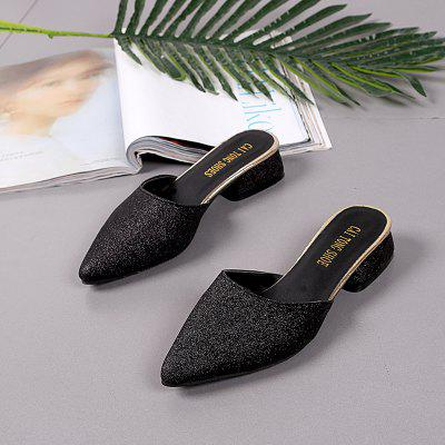 Baotou Low Heel Fashion and Cool SlippersSlippers &amp; Flip-Flops<br>Baotou Low Heel Fashion and Cool Slippers<br><br>Available Size: 35-39<br>Gender: For Women<br>Heel Type: Low Heel<br>Package Contents: 1xShoes (pair)<br>Pattern Type: Solid<br>Season: Summer<br>Slipper Type: Outdoor<br>Style: Leisure<br>Upper Material: Sequined Cloth<br>Weight: 0.6240kg