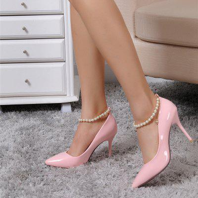 A Leisure Occupation Leather High-Heeled ShoesWomens Pumps<br>A Leisure Occupation Leather High-Heeled Shoes<br><br>Available Size: 33.34.35.36.37.38.39.40<br>Embellishment: Beading<br>Heel Height: 9cm<br>Heel Height Range: High(3-3.99)<br>Heel Type: Stiletto Heel<br>Insole Material: PU<br>Lining Material: Synthetic<br>Occasion: Office &amp; Career<br>Outsole Material: Rubber<br>Package Contents: 1xShoes(pair)<br>Pumps Type: Basic<br>Season: Summer, Spring/Fall<br>Shoe Width: Medium(B/M)<br>Toe Shape: Pointed Toe<br>Toe Style: Closed Toe<br>Upper Material: Microfiber<br>Weight: 0.8500kg