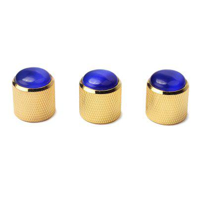 Blue Abalone Push on Guitar Knobs Electric Bass Potentiometer Cap 3PCS