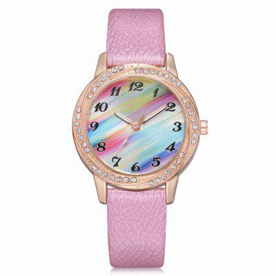 XR2572 Women Fashion Colorful Dial PU Leather Band Wrist Watch