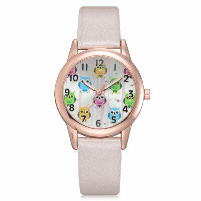 XR2574 Women Cute Owls Dial PU Leather Band Wrist Watch