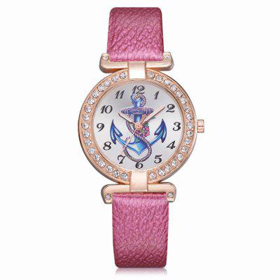 XR2575 Women Fashion Anchor PU Leather Band Wrist Watch