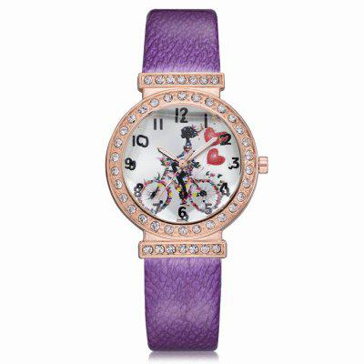 XR2579 Women Unique Dial PU Leather Band Quartz Wrist Watch