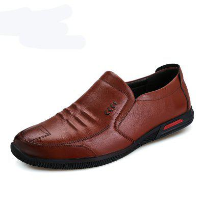 Male Fashion Breathable Soft Sport Flat Solid Leather Causal Shoes
